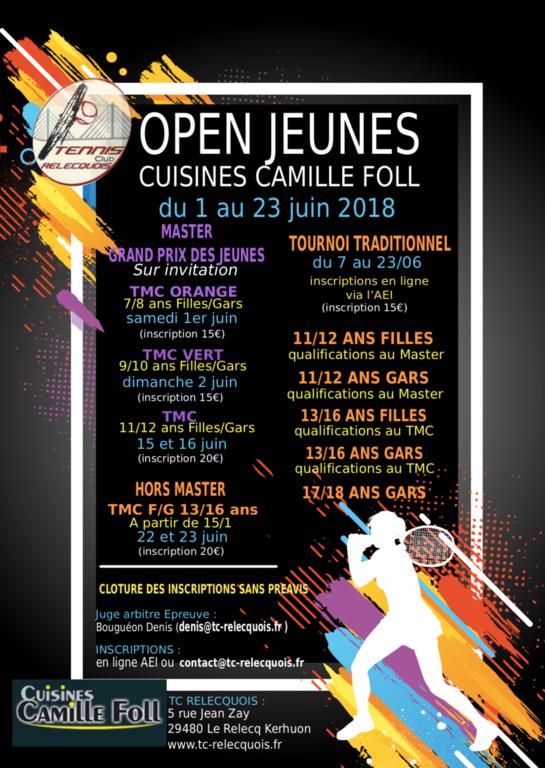 Open Jeunes Cuisine Camille Foll Tcr Tennis Club Relecquois