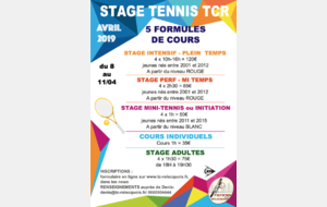STAGES VACANCES D'AVRIL 2019